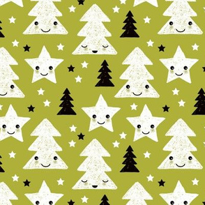 Merry christmas kawaii seasonal christmas trees and stars Japanese illustration print pastel green Small