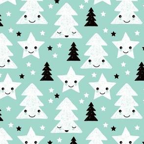 Merry christmas kawaii seasonal christmas trees and stars Japanese illustration print pastel blue Small