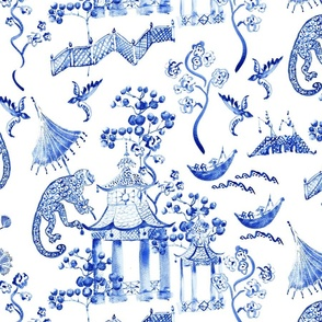 Hand Painted Watercolor Chinoiserie  - Blue