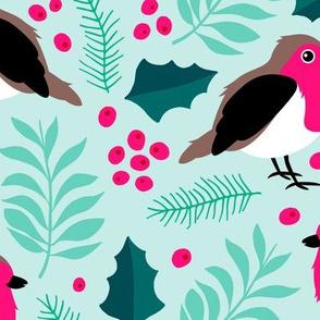 Botanical christmas garden robin birds pine leaves holly branch berries blue pink JUMBO