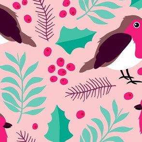 Botanical christmas garden robin birds pine leaves holly branch berries green pink JUMBO