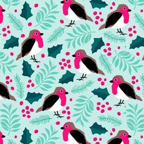 Botanical christmas garden robin birds pine leaves holly branch berries blue pink