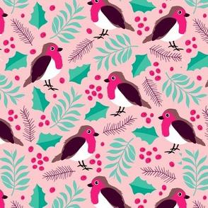 Botanical christmas garden robin birds pine leaves holly branch berries green pink