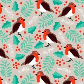 Botanical christmas garden robin birds pine leaves holly branch berries orange green