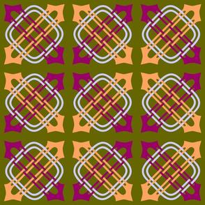 Merlins Knot Magenta Peach Periwinkle on Green