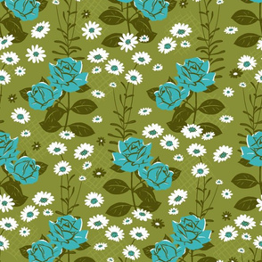 Retro Turquoise Rose and Daisy