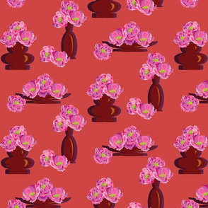 Peonies in Vases Red-01
