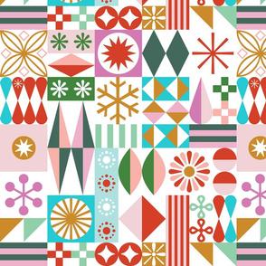 Santa's Workshop Pillow Panel* || geometric star stars starburst snowflake snowflakes grid christmas holiday stripes cut and sew diy home decor