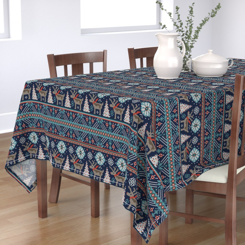 Bantam Rectangular Tablecloth featuring Festive Fair Isle - Navy Blue by heatherdutton