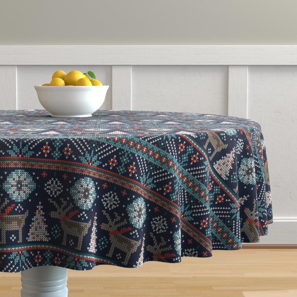 Malay Round Tablecloth featuring Festive Fair Isle - Navy Blue by heatherdutton