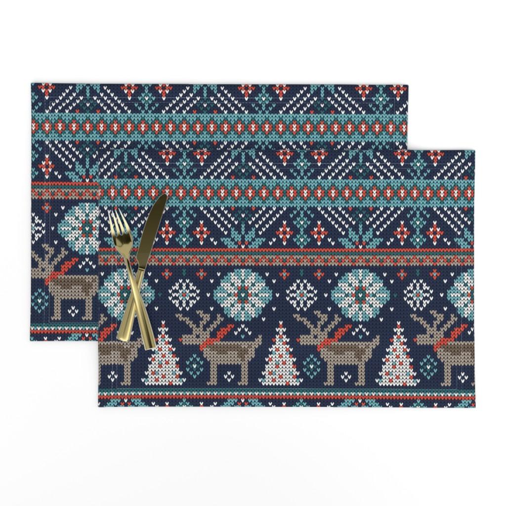 Lamona Cloth Placemats featuring Festive Fair Isle - Navy Blue by heatherdutton