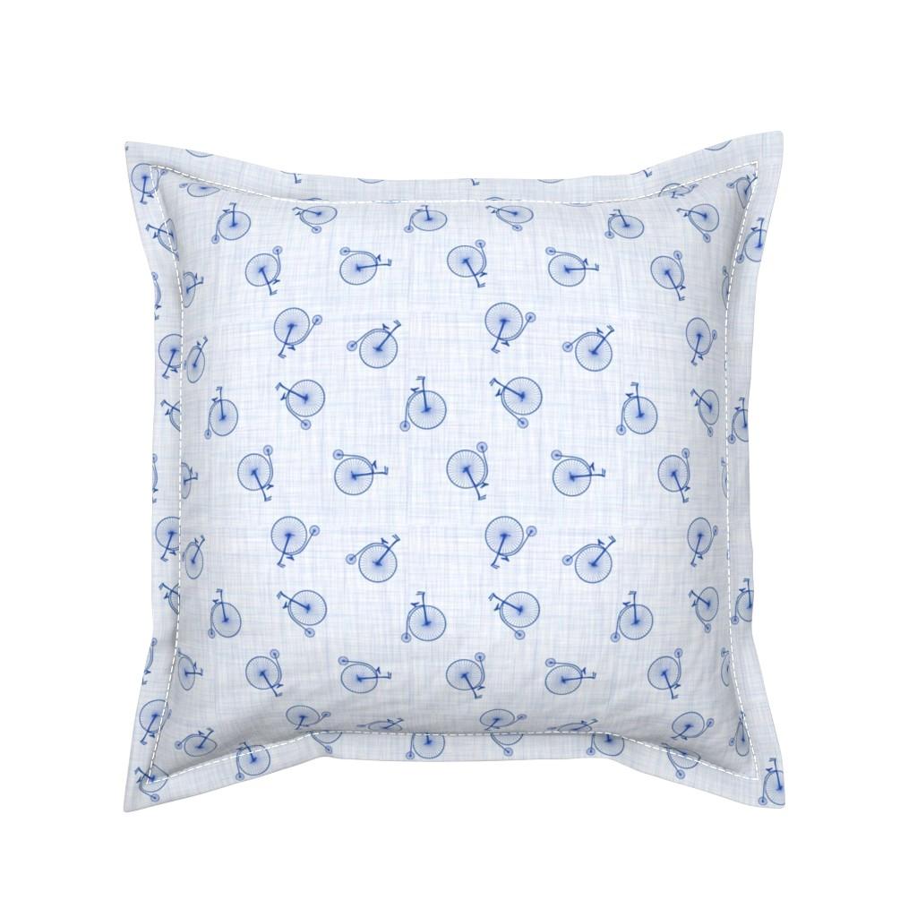 Serama Throw Pillow featuring high wheels blue by michaelakobyakov