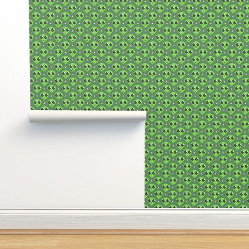 Papier Peint Pixel Art Vert Extraterrestre Monstre Noir Dessin Animé Mignonne Jeu