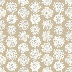 Christmas Mandalas White on Beige