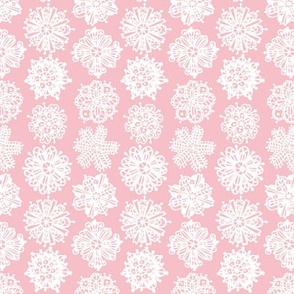 Christmas Mandalas White on Pink