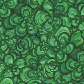 Painterly Floral Green large scale
