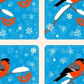 Bullfinches and winter rowan