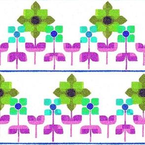 Fair isle folk flowers - bright