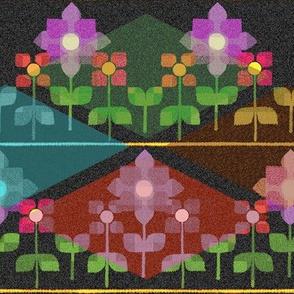 Fair isle folk flowers with argyle - dark
