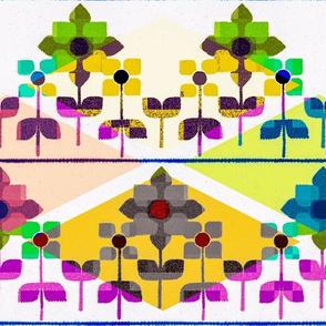 Fair isle folk flowers with argyle - bright