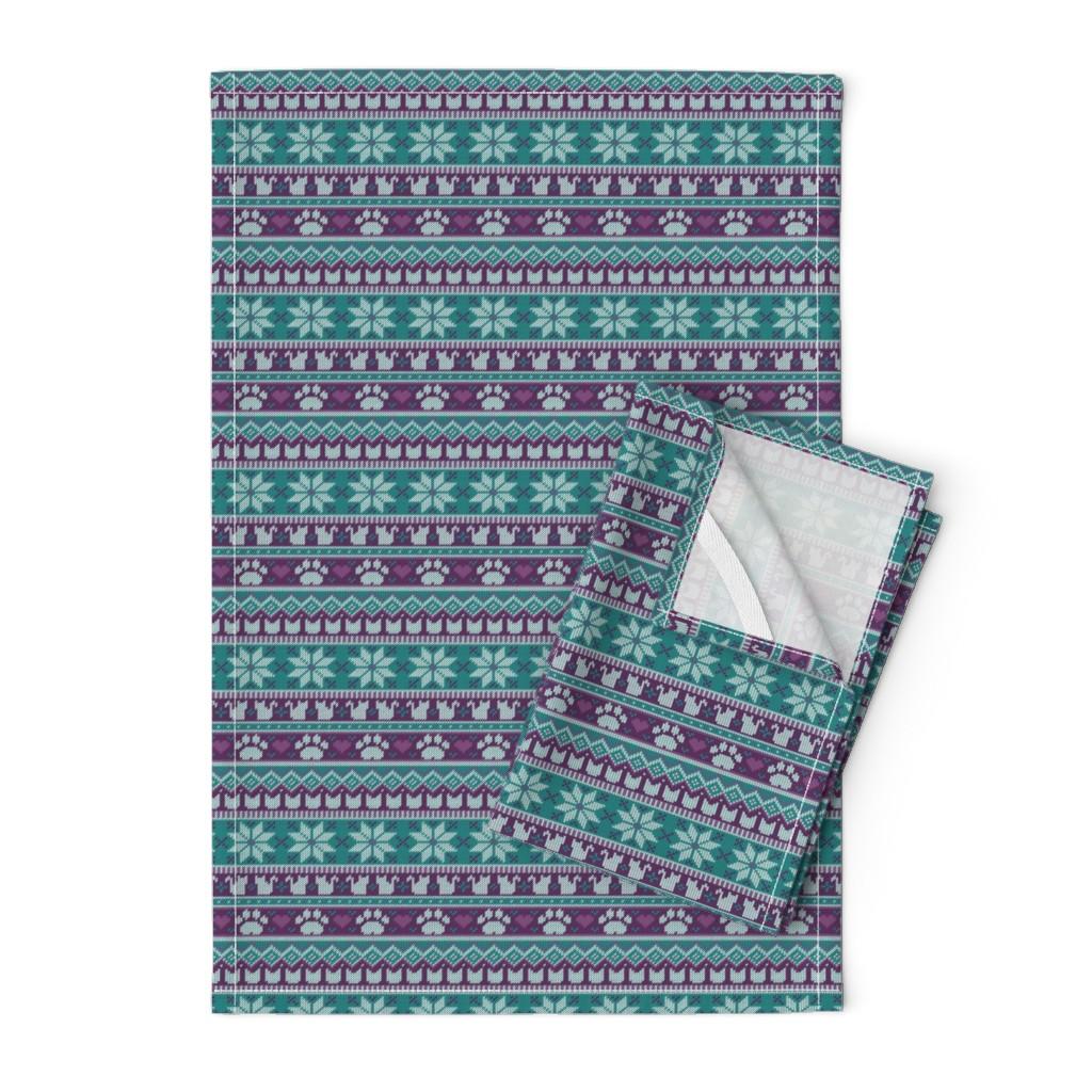 Orpington Tea Towels featuring Fair Isle Felines - Winter Berry by robinskarbek