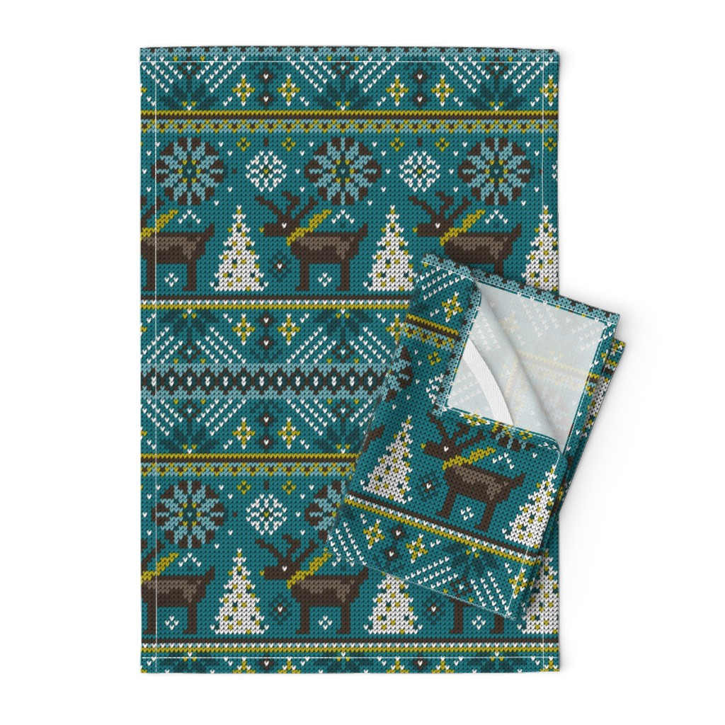 Orpington Tea Towels featuring Festive Fair Isle - Teal by heatherdutton