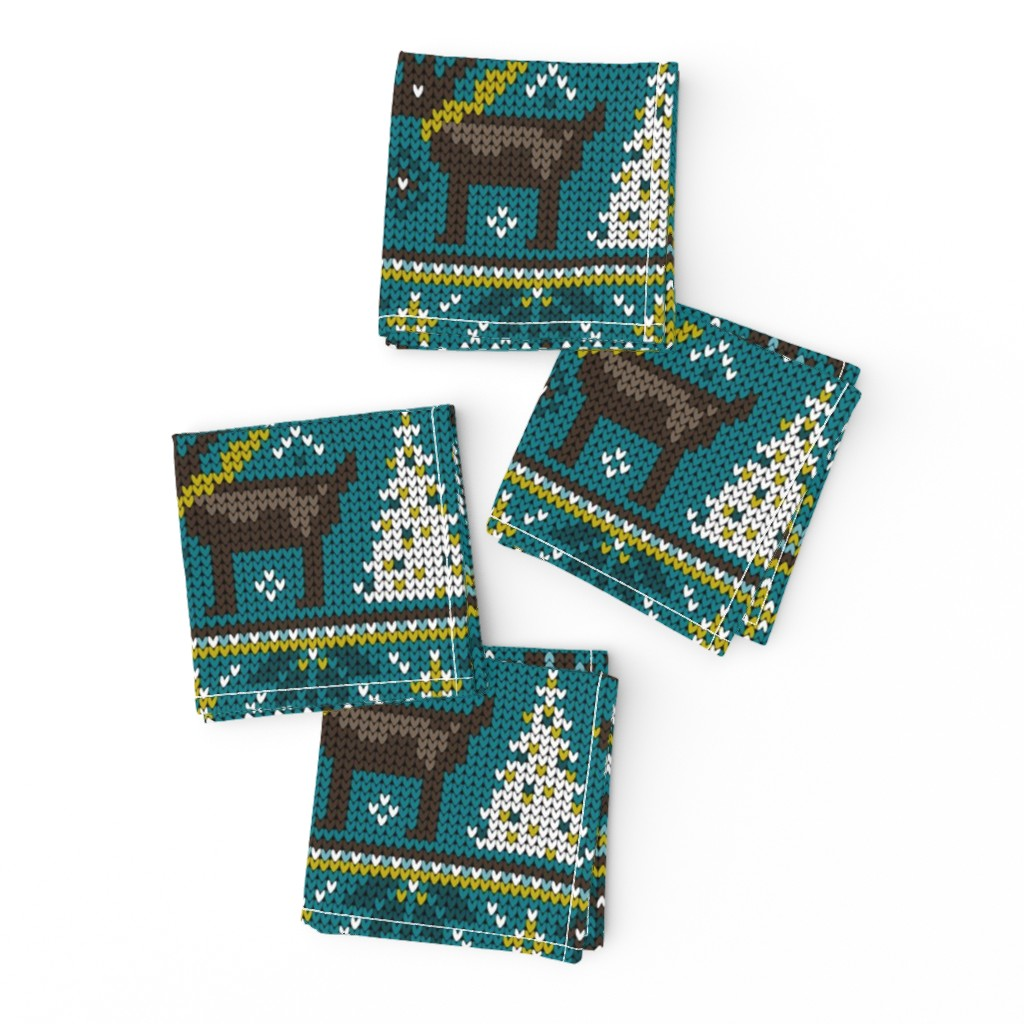 Frizzle Cocktail Napkins featuring Festive Fair Isle - Teal by heatherdutton