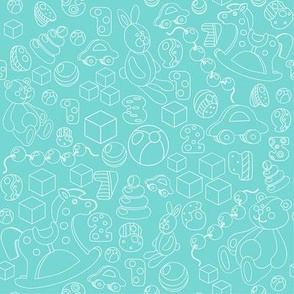 Outline baby toys on the teal green background pattern