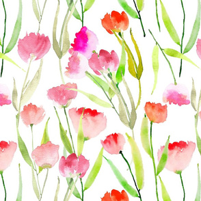 Hand Painted Watercolor Tulips