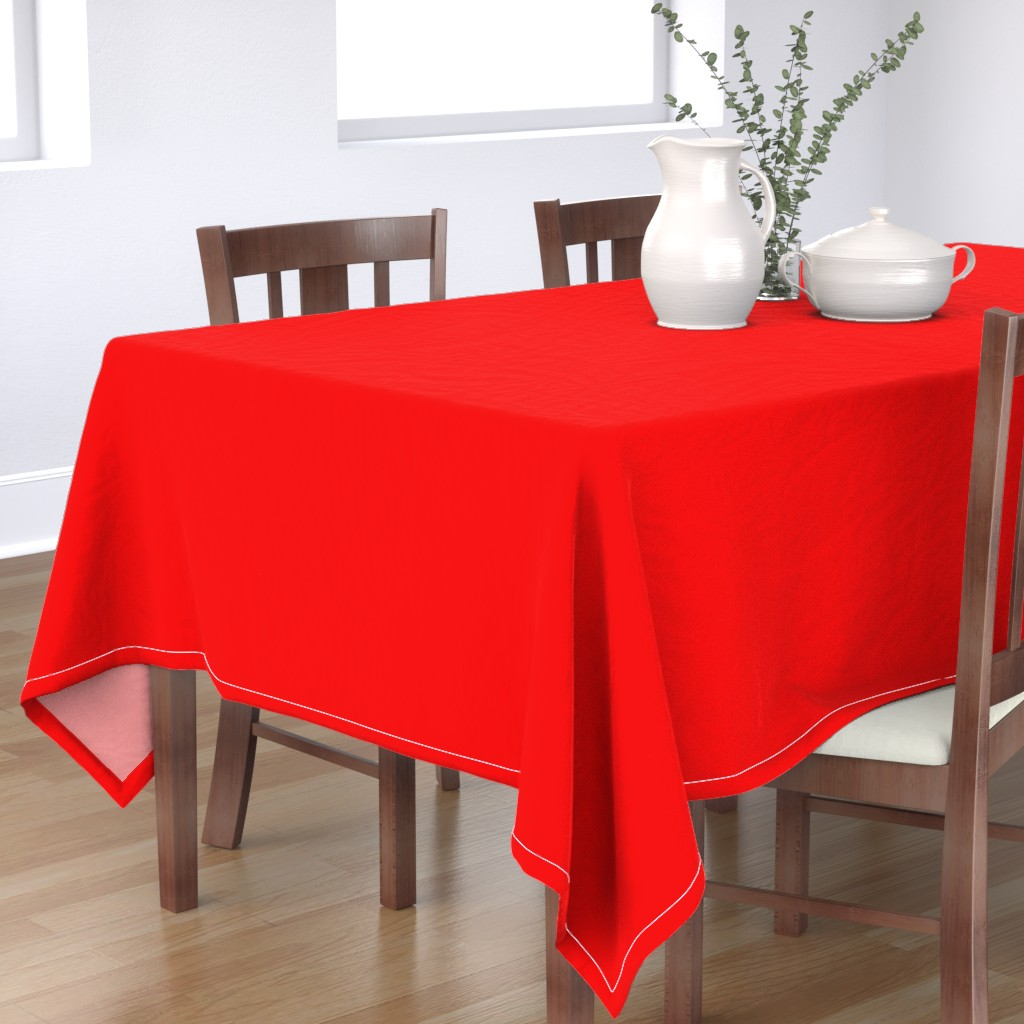 Bantam Rectangular Tablecloth featuring Holly Red Christmas Red Solid by paper_and_frill