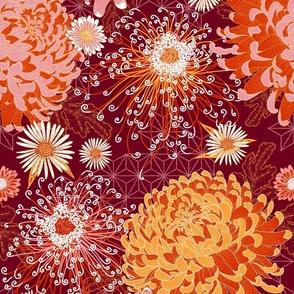 "Japanese Chrysanthemums in Fall Burgundy 18"""