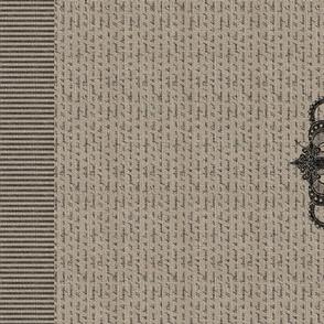Vintage Crown French Script on Linen Tea Towel