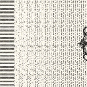 Vintage Crown French Script Tea Towel