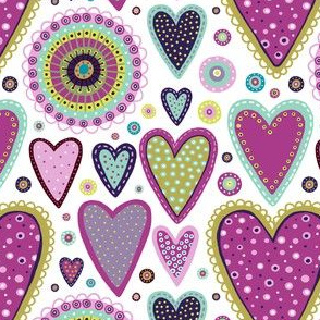 Colourful hearts small