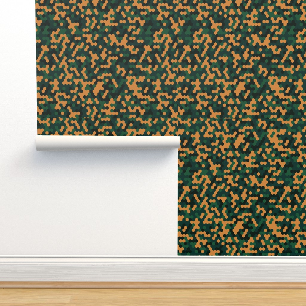 Isobar Durable Wallpaper featuring Green Orange Black Color Pixel Army Camo Camouflage Pattern by artpics
