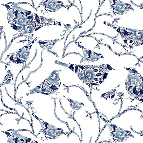 Patterned Birds on Branches