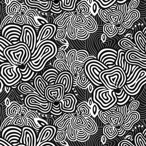 DIZZY BIZZY FLOWERS Black and White