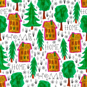 fun home pattern with trees