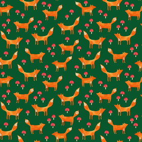 Foxes with toadstools on green