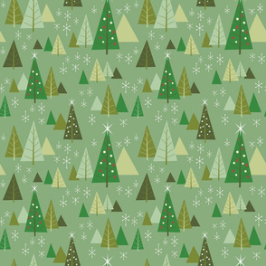 Retro Christmas Forest-Log Cabin