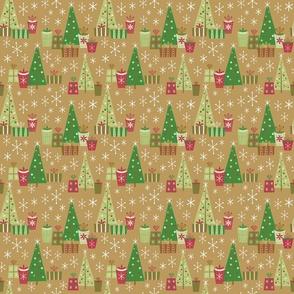 Retro Christmas Morning-Log Cabin