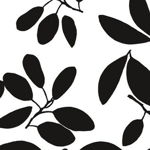 Foliage floral black and white