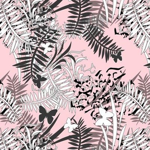 Tropical butterflies and plants on a pink background
