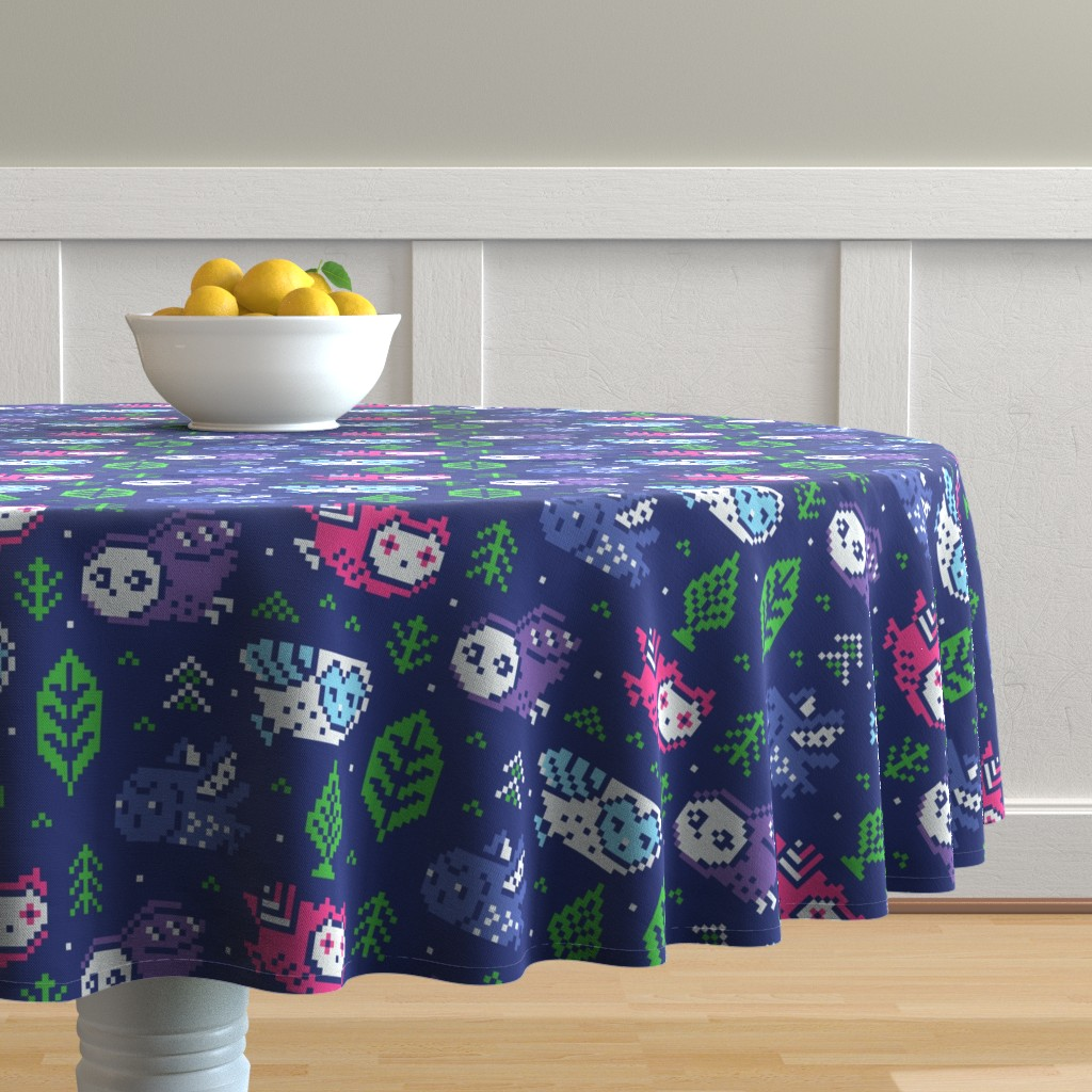 Malay Round Tablecloth featuring fair isle owls by penguinhouse