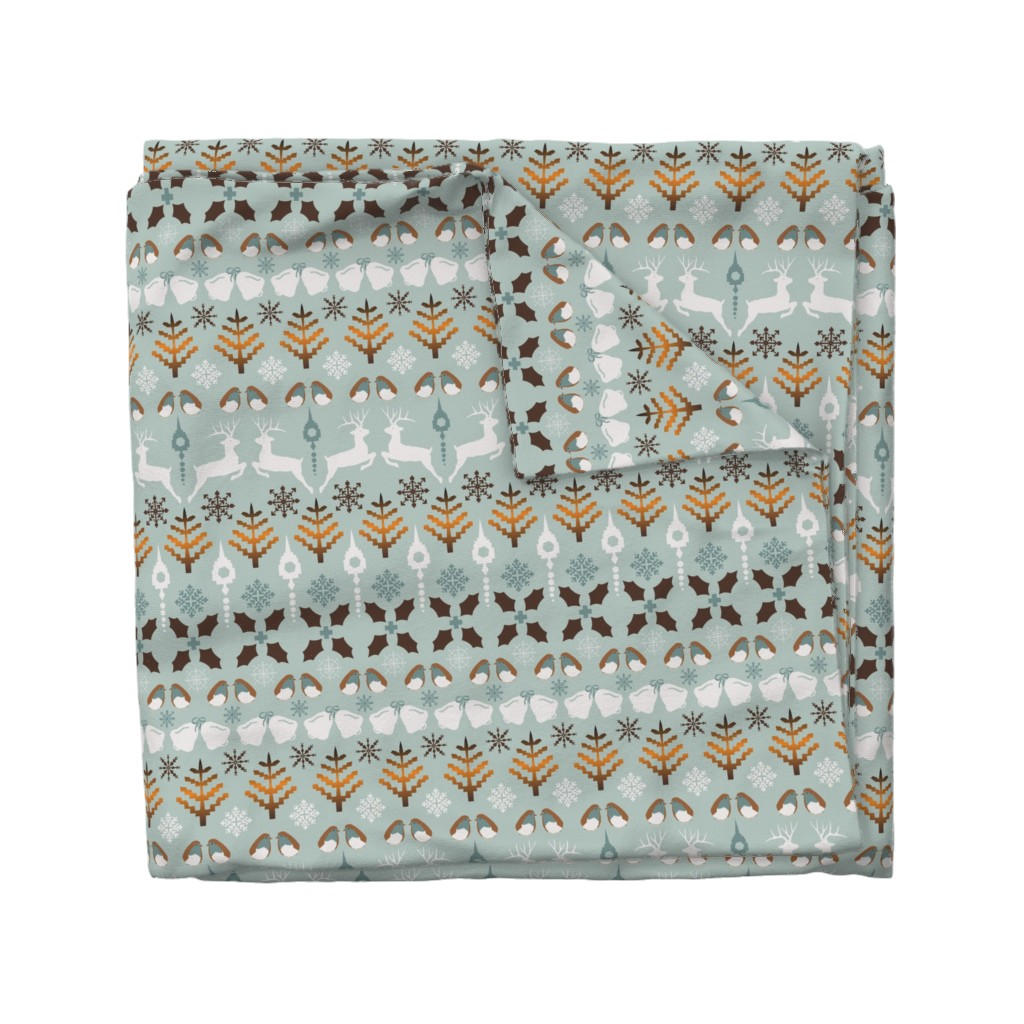 Wyandotte Duvet Cover featuring Fair Isle Christmas in blue and brown by paula_ohreen_designs