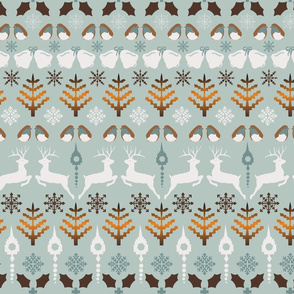 Fair Isle Christmas in blue and brown