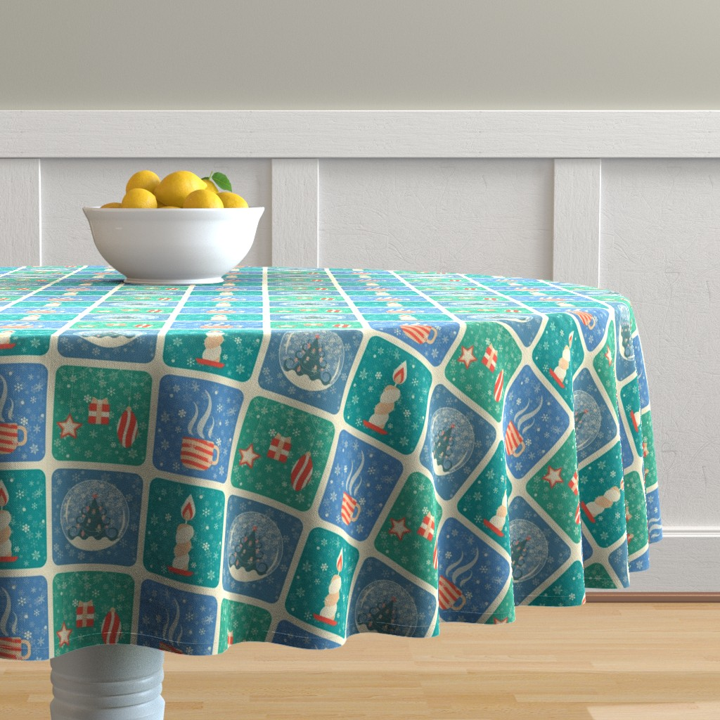 Malay Round Tablecloth featuring Winter Holiday in Siberia by julia_faranchuk