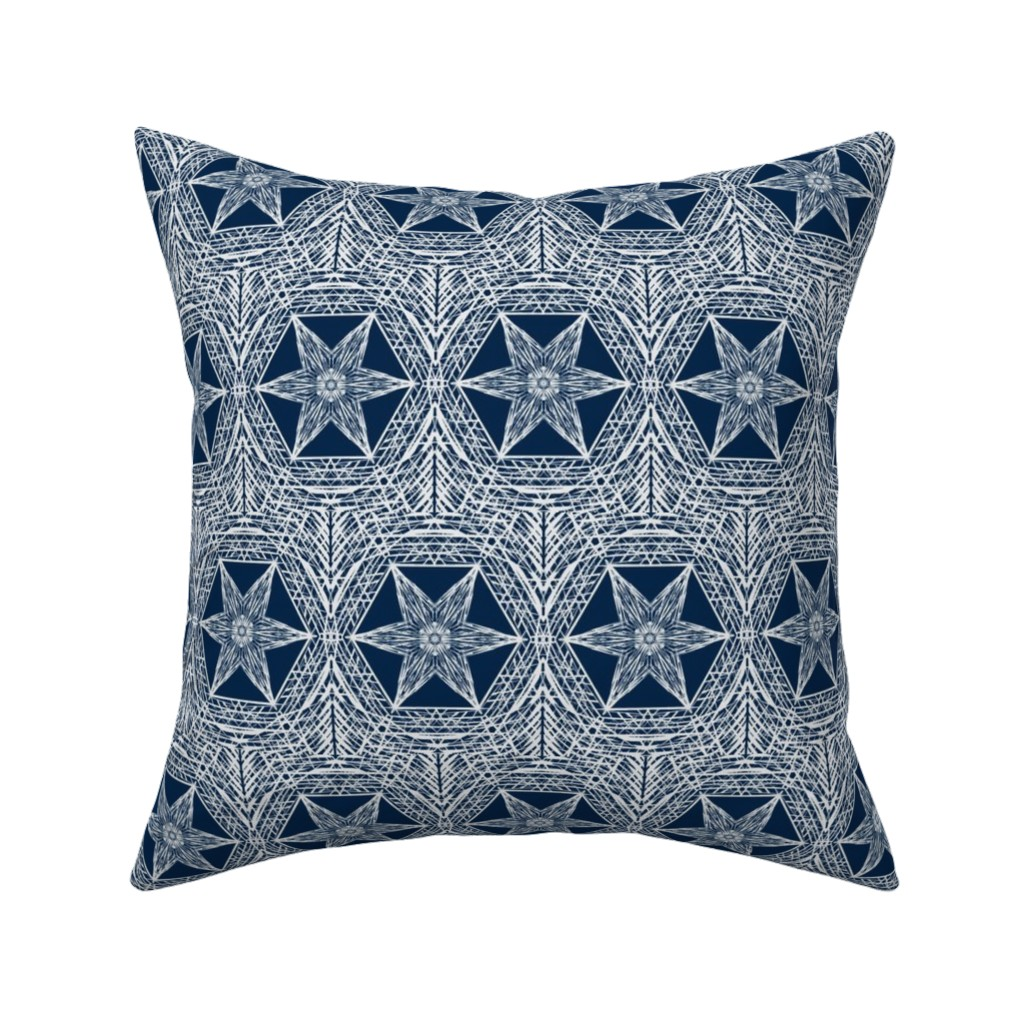 Catalan Throw Pillow featuring Sketchy Hexi Stars of Silvery Grey on Indigo Blue by rhondadesigns