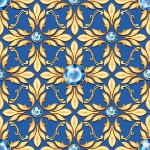 Luxury pattern with blue gems