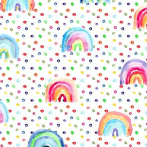 Rainbow watercolor dreams with lots of dots